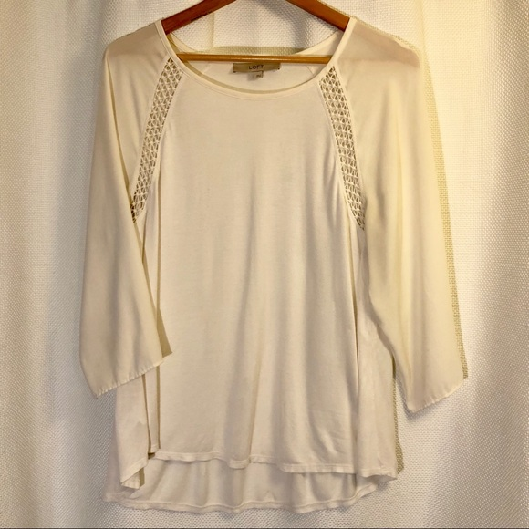 LOFT Tops - 🎁Bundle 4 Free! Cream Blouse with Cut Outs